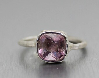 topaz ring, pink topaz ring, pink ring, sterling silver, hand carved ring, gifts for her, recycled silver