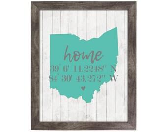 Ohio Rustic Farmhouse Special Coordinates State Print   8x10, Wood Print, Brick Print, Farmhouse Print, Home Print