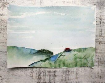 Landscape original watercolor painting 8x12 red roof house countryside