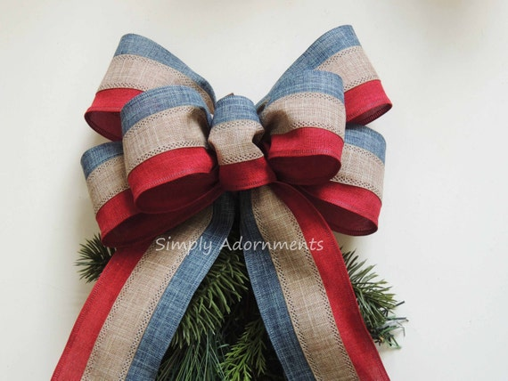 Americana Christmas Bow Rustic Patriotic Christmas Wreath Bow Americana Patriotic Door Hanger Bow Election Day decor Patriotic Gift Bow