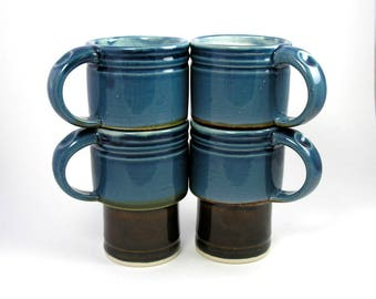 Cups, coffee mugs in Blue Storm and Tenmoku Stackable set of four