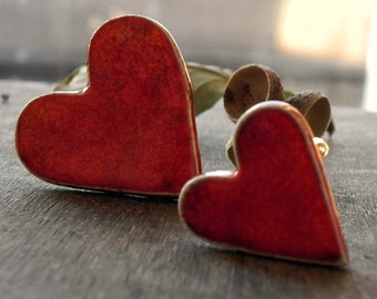 Valentine's Day Coral Red Ceramic Heart Ring Set of 2, Oversized Cocktail and Medium Red Adjustable Ring, for Sisters Pottery Jewelry