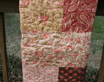 Floral & Paisley with Brown, Dusty Pink, Dark Coral Crib Quilt, Lap Quilt, Paisley Quilt, Girl's Crib Quilt, Brown Coral Quilt