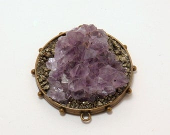 Pyrite and Amethyst handmade pendant/connector - 2.5""