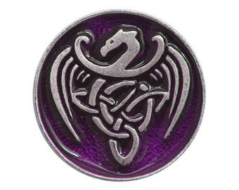 2 Celtic Dragon 15/16 inch ( 24 mm ) Pewter Buttons Purple Background