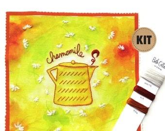 DIY Crafts, Embroidery Kit, Chamomile Tea Art, Cheerful Kitchen Wall Art, Yellow Spring Decor, Hand Embroidery Pattern, Hoop Art, Stitch Kit