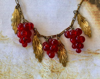 Deco Grape Necklace, 1920's Czech Red Art Glass Vineyard Art Nouveau Bridal