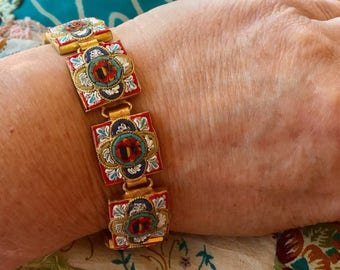 Micro Mosaic Bracelet Vintage 1940 1950 Art Deco Red Panel, Renaissance Wedding Reign Bridal