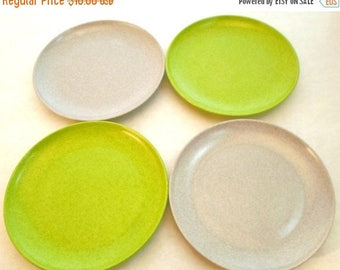 "ON SALE Vintage Branchell Kaye LaMoyne Melmac 6"" Small Plates Set of 4 Lime Green and Gray 1950s Shabby Chic Cottage Chic"
