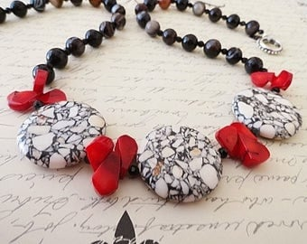 Red Black White Necklace White Turquoise Red Bamboo Coral And Black Onyx Statement Necklace Set Gift For Her JewelryByPJ
