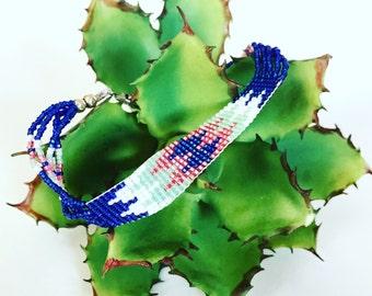 Native Pink and Blue Beaded Bracelet
