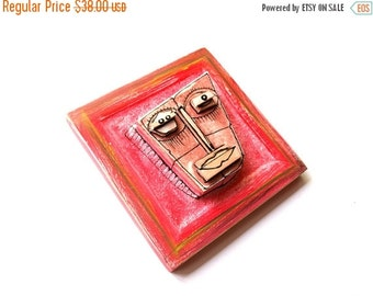 Red face, Modern ceramic, Wall art ceramic, 3D wall sculpture, Colorful sculpture, Contemporary ceramics, Ceramic artist, 99heads