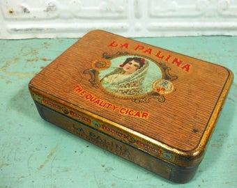Antique La Palina Cigar Tin Congress Cigar Co.