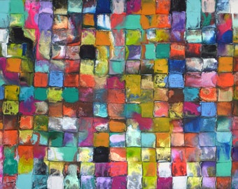 XXL Original Mosaic Art by Caroline Ashwood - Modern contemporary abstract painting on canvas - FREE SHIPPING