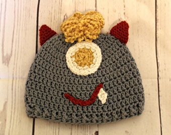 Blue Monster kids  Hat - child size -  cotton crochet hat - READY TO SHIP kids gift - One of a Kind