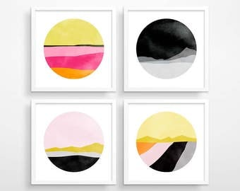Modern Wall Art Set of 4 Prints, Pink Abstract Art, Wall Decor Living Room Bedroom, Office Decor, Mid Century Modern Art, Minimalist Art