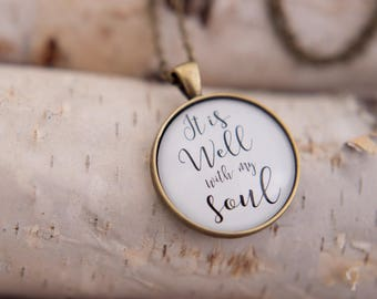 It is well with my soul necklace - it is well glass pendant - hymn necklace - inspirational jewelry - it is well hymn pendant bronze silver