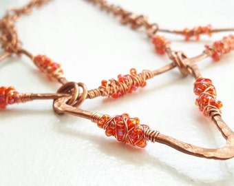 Red Clustered Copper Banner Necklace
