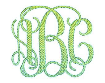 2 Color Vine Monogram Embroidery Font Set - Instant Download