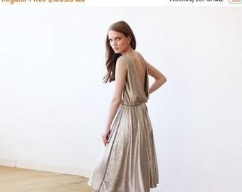 Spring Sale Gold Sleeveless Midi Dress With Open Back 1116