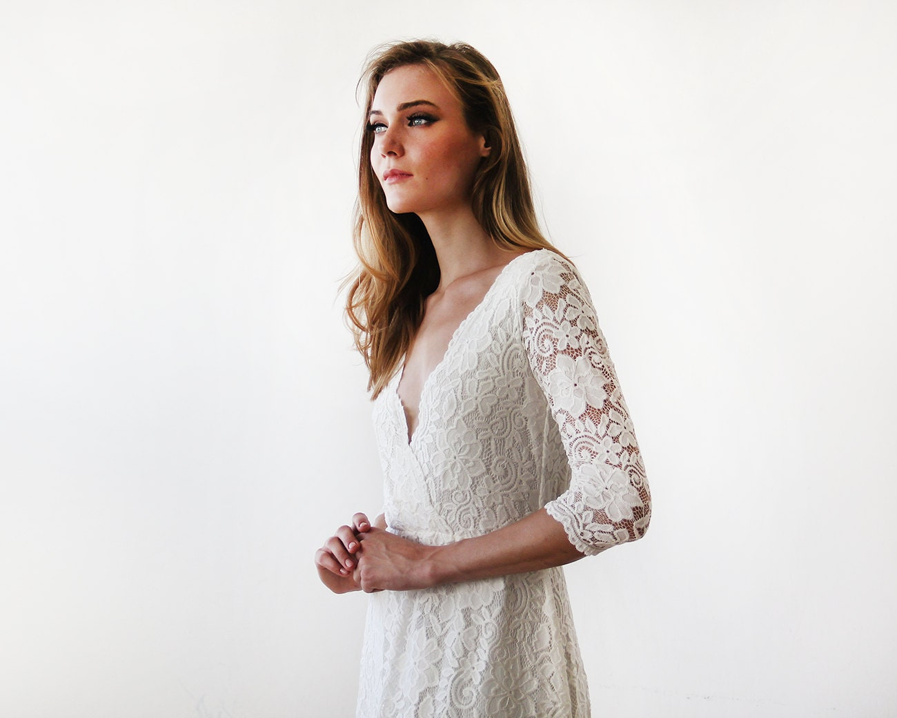 Ivory long sleeves lace wedding gown lace bridal gown ivory for Ivory lace wedding dress with sleeves