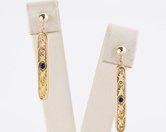 Antique Earrings - Antique Engraved 14k Yellow Gold Cabachon Sapphire Conversion Earrings