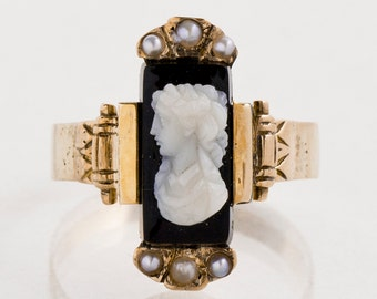 Antique Cameo Ring - Antique 19th Century Black Onyx Cameo Ring with Seed Pearls