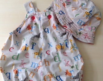 Baby boy/girl two piece set - size 00 - 3-6 months - alphabet print  - perfect for summer and Christmas picnics - handmade and unique