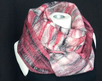 Old Rose. Felted Scarf. Black. White. Stripes Merino. Silk. Eco. Sustainable.