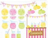 Black Friday Cyber Monday SALE - Clipart - Pink Lemonade Stand / Citrus Clipart / Journal Planner Stickers - Digital Clip Art (Instant Downl