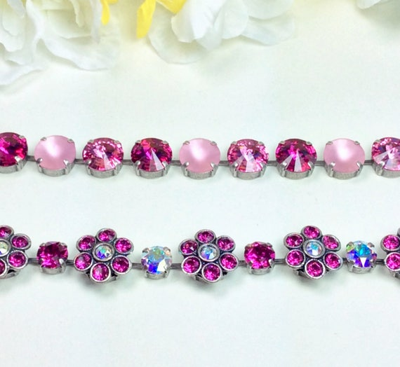 Swarovski Crystal Flowers Bracelet -  Fun & Happy - Fuchsia Spring Flowers and Multi- Pinks Wrist Candy - Designer Inspired - FREE SHIPPING