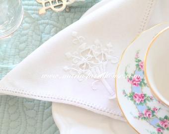 HEIRLOOM LINEN WHITE Napkin, Vintage, Embroidered Cotton Napkin, Tea Party, Table Linen, Tea Napkin