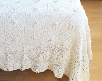 BED COVER, Vintage, Victorian, Handmade, Heavy Weight, Crochet Queen/King Size Bedspread, Ivory Cotton, Wedding Day, Downton Abbey Decor