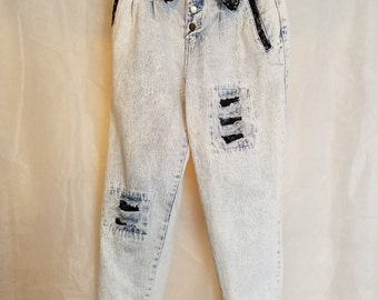 Small Vintage 80s Stephano International Fold Over High Rise Waist Black Lace Distressed Acid Wash Tapered Leg Mom Jeans Denim