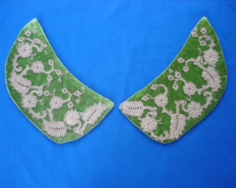 Green Velvet Collar Pieces with Hand Sewn Gold Lace Embellishment