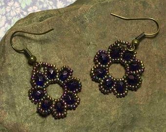 Purple Bead Earrings Circle Bead Earrings Dark Purple Earrings Brass Bead Dangles Seed Bead Earrings Beadwoven Earrings Beaded Disk Earrings