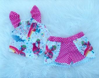 Poppy Trolls Trolll Pass The Glitter Coachella Shorts Kite Swing Top Outfit