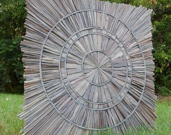 Sunbleached Gray Wood Wall Art, Driftwood Art, Square Wood Starburst MADE TO ORDER