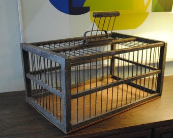 Primitive Wood and Metal Bird or Animal Cage