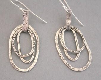 Hammered Silver Hoop Earrings, Sterling Silver Hoop Earrings, Rustic Earrings, Hand Stamped, Boho, Dangle, Organic