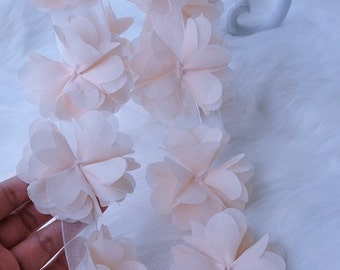 3D Rose Chiffon Rosette Wedding Dress Lace Trim Bridal Dress Lace Trim DIY Fabric Crafts Alterations Supplies Fashion and Grace
