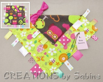 Baby Sensory Toy Tag Blanket Security Blankie Ribbon Lovie Owls Critters Baby Girl Bee Snail Butterfly Woodland READY TO SHIP (289)