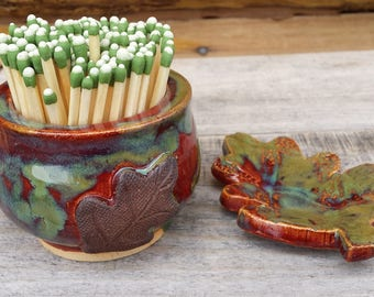 Pottery Match Striker, bathroom match holder, fireplace match striker, ceramic match keeper, candle lighter, leaves, MADE TO ORDER 4-6 Weeks