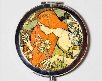 Paul Berthon Compact Mirror - Redhead Nouveau Boho Bohemian Gypsy  - Make Up Pocket Mirror for Cosmetics
