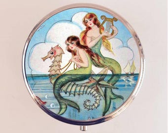 Mermaid Pill Box Case Pillbox Holder Trinket Stash Box Harp Seahorse Nautical Sirens