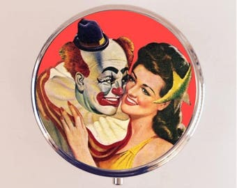 Clown Romance Pill Box Case Pillbox Holder Pulp Fiction Retro Kitsch