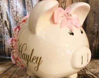 LARGE Personalized pink piggy bank, pink tutu, custom piggy bank, girl bank, birthday banks, custom piggy banks, baby's first piggy bank