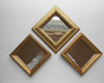 Wood wall mirrors, gold three  wall mirrors home decor