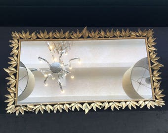Vintage Gold leaf Mirrored Dressing Tray- Shipping Included