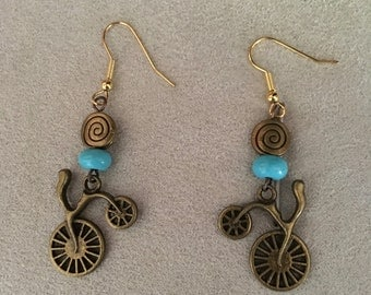 Retro Antiqued Bicycle Earrings, Turquoise and Bronze, dangle